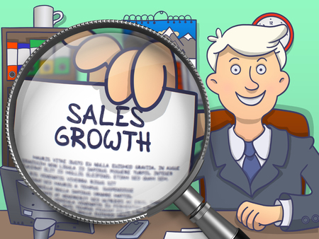 sales growth: Sales Growth on Paper in Business Mans Hand through Lens to Illustrate a Business Concept. Multicolor Doodle Illustration.