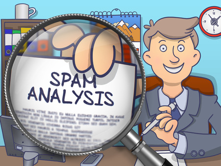 Officeman Shows Concept on Paper Spam Analysis. Closeup View through Magnifying Glass. Colored Doodle Illustration. Stock Photo