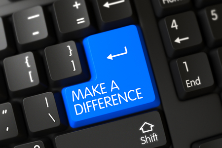 Concepts of Make A Difference, with a Make A Difference on Blue Enter Button on Black Keyboard. Button Make A Difference on Modern Keyboard. 3D Illustration.