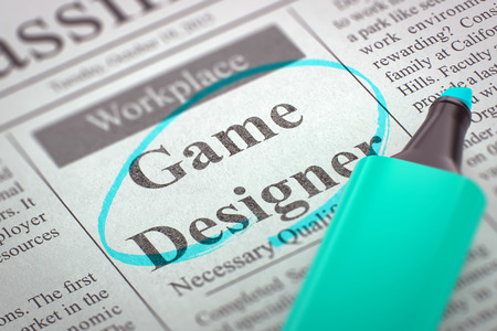roleplaying: Game Designer - Classified Advertisement of Hiring in Newspaper, Circled with a Azure Highlighter. Blurred Image with Selective focus. Job Search Concept. 3D Render. Stock Photo