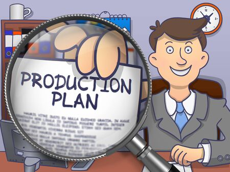 productivity system: Production Plan. Officeman Showing Paper with Text through Magnifier. Colored Doodle Illustration. Stock Photo