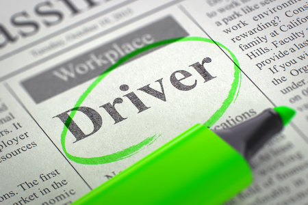 Driver. Newspaper with the Small Ads of Job Search, Circled with a Green Marker. Blurred Image. Selective focus. Job Search Concept. 3D Illustration. Stock Photo