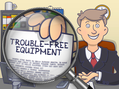 trouble free: Trouble-Free Equipment through Magnifier . Business Man Holding Paper with Offer. Multicolor Modern Line Illustration in Doodle Style. Stock Photo