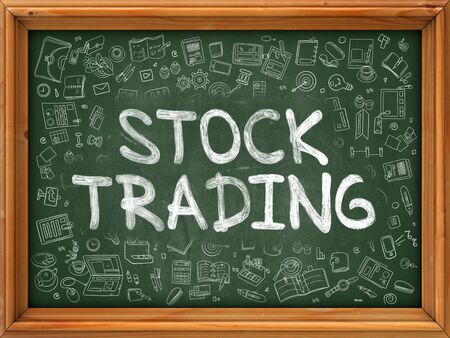 stock trading: Stock Trading - Handwritten Inscription by Chalk on Green Chalkboard with Doodle Icons Around. Modern Style with Doodle Design Icons. Stock Trading on Background of Green Chalkboard with Wood Border.