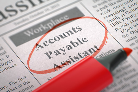 accounts payable: Accounts Payable Assistant - Vacancy in Newspaper, Circled with a Red Highlighter. Blurred Image with Selective focus. Job Search Concept. 3D Render.