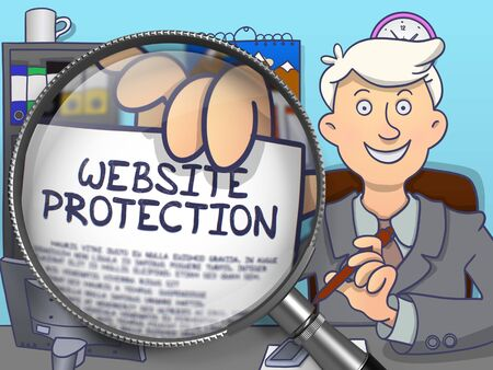 cyber defence: Website Protection. Man in Office Showing through Magnifier Text on Paper. Colored Doodle Illustration. Stock Photo