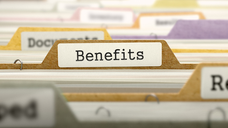 benefit: Folder in Colored Catalog Marked as Benefits Closeup View. Selective Focus. 3D Render. Stock Photo