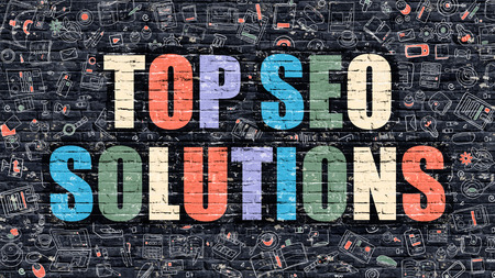 metasearch: Multicolor Concept - Top SEO Solutions on Dark Brick Wall with Doodle Icons. Modern Illustration in Doodle Style. Top SEO Solutions Business Concept. Top SEO Solutions on Dark Wall. Stock Photo