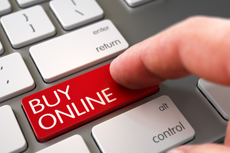 Business Concept - Male Finger Pointing Buy Online Button on Modern Keyboard. Selective Focus on the Buy Online Button. Hand Touching Buy Online Button. 3D Illustration.