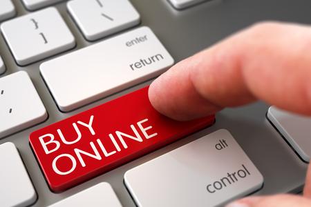 Concetto di affari - dito maschio che indica il bottone online di acquisto sulla tastiera moderna. Focus selettivo sul pulsante Acquista online. Mano che tocca Acquista pulsante online. Illustrazione 3D.