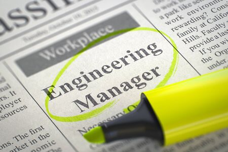 classifieds: A Newspaper Column in the Classifieds with the Job Vacancy of Engineering Manager, Circled with a Yellow Marker. Blurred Image with Selective focus. Concept of Recruitment. 3D Rendering.