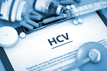 convalescence: Diagnosis - HCV On Background of Medicaments Composition - Pills, Injections and Syringe. HCV - Medical Report with Composition of Medicaments - Pills, Injections and Syringe. 3D.