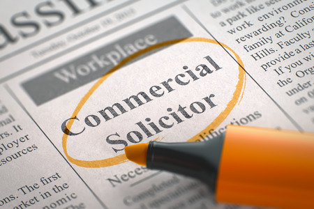 solicitor: Commercial Solicitor - Small Advertising in Newspaper, Circled with a Orange Highlighter. Blurred Image. Selective focus. Job Search Concept. 3D Rendering.