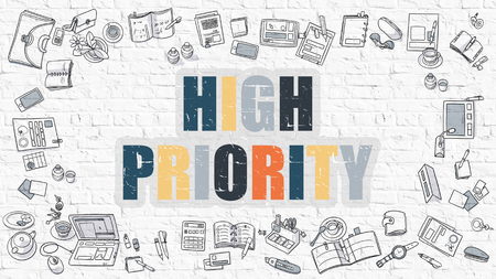 priority: High Priority Concept. High Priority Drawn on White Wall. High Priority in Multicolor. Doodle Design. Modern Style Illustration. Doodle Design Style of High Priority. White Brick Wall.