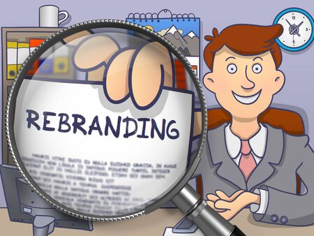 El cambio de marca. Papel con el concepto de la mano del hombre de negocios a través de la lente. Ilustración multicolor línea de estilo moderno Doodle.