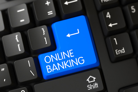 wap: Black Keyboard with the words Online Banking on Blue Button. Button Online Banking on PC Keyboard. Blue Online Banking Keypad on Keyboard. Modern Keyboard Button Labeled Online Banking. 3D Render.