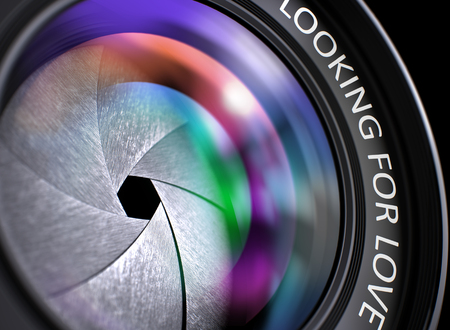 monogamous: Closeup Front of Lens with Pink and Orange Reflection and Inscription Looking For Love. Front of Camera Lens with Looking For Love Inscription. Colorful Lens Flares on Front Glass. 3D Render.