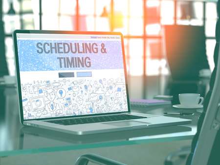 scheduling: Scheduling and Timing Concept Closeup on Landing Page of Laptop Screen in Modern Office Workplace. Toned Image with Selective Focus. 3D Render.