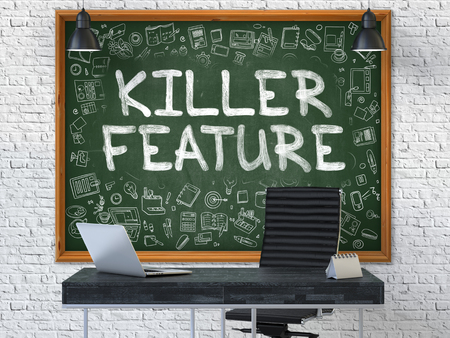singular: Killer Feature - Hand Drawn on Green Chalkboard in Modern Office Workplace. Illustration with Doodle Design Elements. 3D. Stock Photo