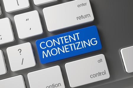 monetizing: Aluminum Keyboard with Hot Button for Content Monetizing. Concept of Content Monetizing, with Content Monetizing on Blue Enter Keypad on Slim Aluminum Keyboard. 3D Render.