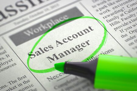 function key: Sales Account Manager - Advertisements and Classifieds Ads for Vacancy in Newspaper, Circled with a Green Highlighter. Blurred Image. Selective focus. Hiring Concept. 3D Rendering.