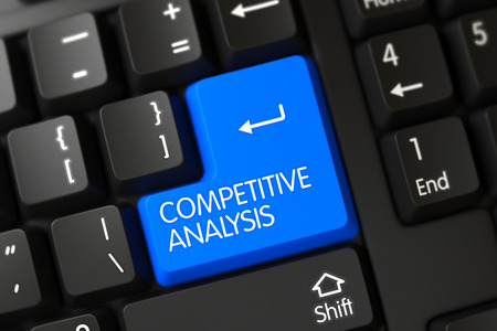 competitive: Competitive Analysis Concept: Black Keyboard with Competitive Analysis on Blue Enter Key Background, Selected Focus. Competitive Analysis Button. 3D Render.