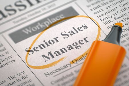 sales manager: Newspaper with Small Advertising Senior Sales Manager. Blurred Image with Selective focus. Hiring Concept. 3D Rendering.