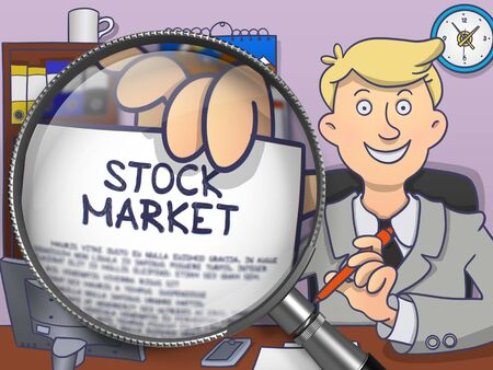 stock quotes: Stock Market. Officeman Welcomes in Office and Shows through Magnifier Concept on Paper. Colored Doodle Illustration.