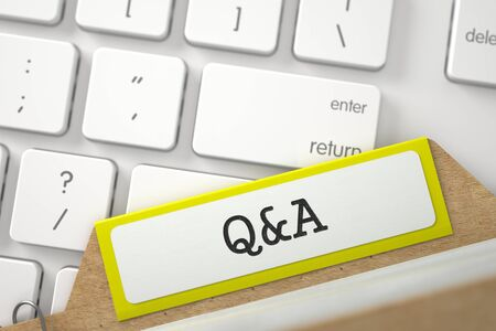 card index: Q&A written on Yellow Card Index Concept on Background of White PC Keyboard. Business Concept. Close Up View. Selective Focus. 3D Rendering.