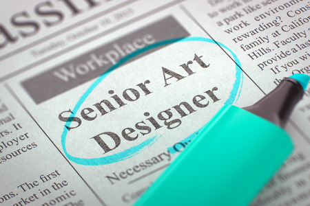 interactivity: Senior Art Designer - Jobs in Newspaper, Circled with a Azure Highlighter. Blurred Image. Selective focus. Concept of Recruitment. 3D Render.