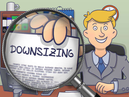 cutback: Downsizing. Paper with Concept in Business Mans Hand through Magnifying Glass. Colored Doodle Style Illustration. Stock Photo