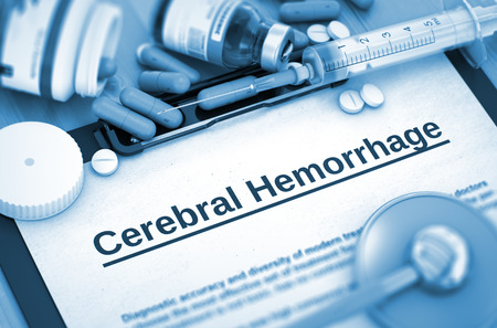 haemorrhage: Cerebral Hemorrhage, Medical Concept with Pills, Injections and Syringe. Cerebral Hemorrhage, Medical Concept with Selective Focus. 3D Render. Stock Photo