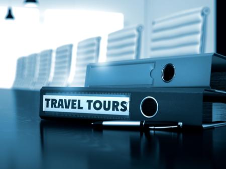 ring file: Travel Tours - Business Concept on Blurred Background. Travel Tours - File Folder on Black Desktop. Ring Binder with Inscription Travel Tours on Black Desktop. 3D Render.