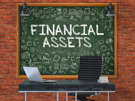 financial assets: Financial Assets - Hand Drawn on Green Chalkboard in Modern Office Workplace. Illustration with Doodle Design Elements. 3D.