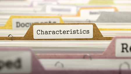 characteristics: Characteristics on Business Folder in Multicolor Card Index. Closeup View. Blurred Image. 3D Render. Stock Photo