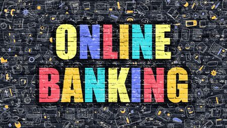 sms payment: Online Banking Concept. Modern Illustration. Multicolor Online Banking Drawn on Dark Brick Wall. Doodle Icons. Doodle Style of Online Banking Concept. Online Banking on Wall.
