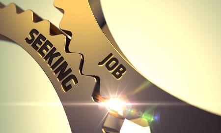 hiring practices: Job Seeking on Golden Gears. Job Seeking - Concept. Job Seeking on Mechanism of Golden Cogwheels. Job Seeking on the Mechanism of Golden Metallic Cog Gears with Lens Flare. 3D.