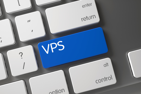 blue button: VPS on Slim Aluminum Keyboard Background. Concept of VPS, with VPS on Blue Enter Key on Laptop Keyboard. Button VPS on Computer Keyboard. VPS Keypad. 3D Illustration. Stock Photo