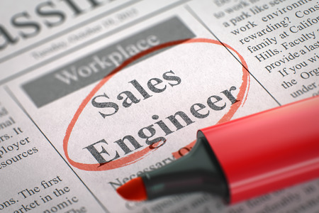 seeking solution: Sales Engineer - Vacancy in Newspaper, Circled with a Red Highlighter. Blurred Image. Selective focus. Hiring Concept. 3D Render. Stock Photo