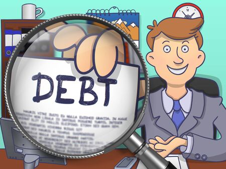 obligations: Debt. Officeman Showing a Paper with Concept through Magnifier. Multicolor Doodle Style Illustration. Stock Photo