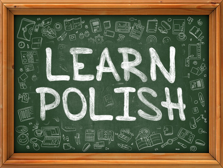 polyglot: Learn Polish Concept. Modern Line Style Illustration. Learn Polish Handwritten on Green Chalkboard with Doodle Icons Around. Doodle Design Style of Learn Polish Concept.