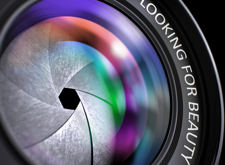 goodliness: Looking For Beauty Concept. Looking For Beauty - Concept on Digital Camera Lens  with Colored Lens Reflection, Closeup. Photographic Lens with Bright Colored Flares. Looking For Beauty Concept. 3D. Stock Photo