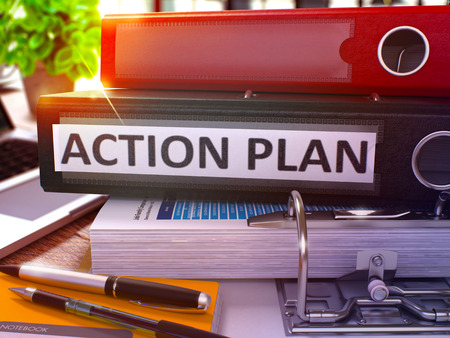 action plan: Black Office Folder with Inscription Action Plan on Office Desktop with Office Supplies and Modern Laptop. Action Plan Business Concept on Blurred Background. Action Plan - Toned Image. 3D.