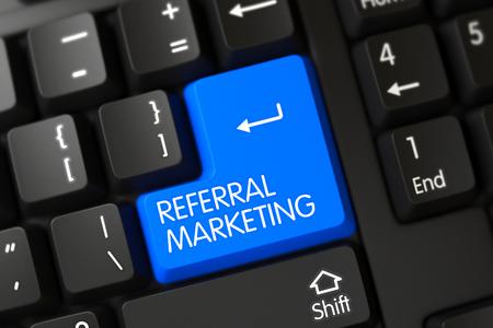 referral marketing: Key Referral Marketing on PC Keyboard. Referral Marketing Concept: Computer Keyboard with Referral Marketing, Selected Focus on Blue Enter Button. 3D Illustration.