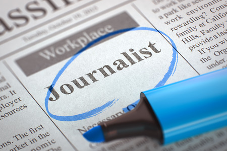 correspondent: Journalist. Newspaper with the Job Vacancy, Circled with a Blue Marker. Blurred Image with Selective focus. Job Seeking Concept. 3D Rendering.