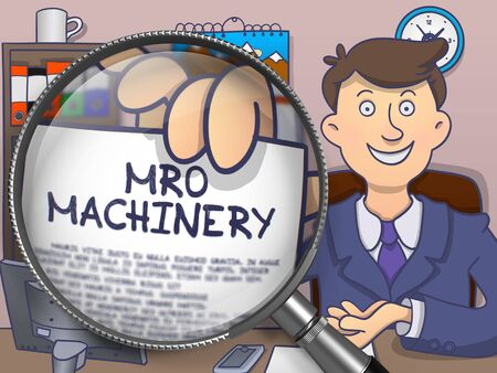 enginery: MRO Machinery. Text on Paper in Officemans Hand through Magnifying Glass. Colored Doodle Illustration.