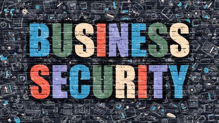 stocktaking: Business Security Concept. Modern Illustration. Multicolor Business Security Drawn on Dark Brick Wall. Doodle Icons. Doodle Style of  Business Security Concept. Business Security on Wall.