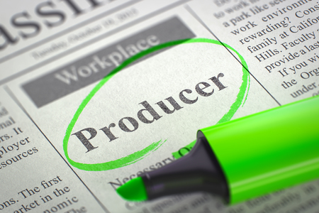 producer: Producer. Newspaper with the Small Advertising, Circled with a Green Marker. Newspaper with Classified Advertisement of Hiring Producer. Blurred Image with Selective focus. Job Seeking Concept. 3D.