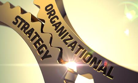 long term goal: Organizational Strategy - Industrial Design. Organizational Strategy on Mechanism of Golden Metallic Gears with Lens Flare. Organizational Strategy - Concept. 3D Render.