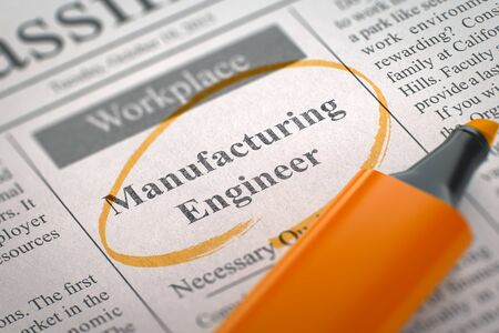 classifieds: Newspaper with Advertisements and Classifieds Ads for Vacancy Manufacturing Engineer. Blurred Image with Selective focus. Job Seeking Concept. 3D Illustration. Stock Photo